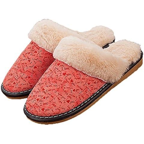 TDXIE Parejas de hombres y mujeres en las zapatillas de algodón grueso antideslizante y resistente al agua de invierno y Cachemira zapatos de casa , d , 40-41 (for 39-40)
