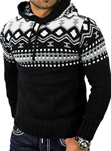 Reslad Norweger Pullover Herren Winterpullover Kapuzenpullover   Strickpullover für Männer RS-3013 (2XL, Schwarz)
