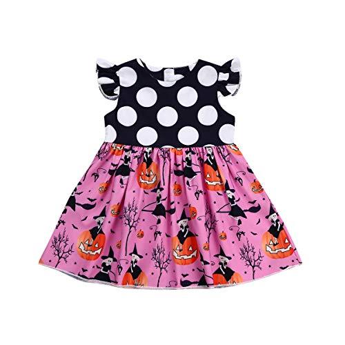 Carolilly Neugeborenes Baby Mädchen Kurzarm Kleider Kürbis Halloween Kostüm Outfits Prinzessin Kleid (2T, Rosa) (Prinzessin Kostüm 2t)