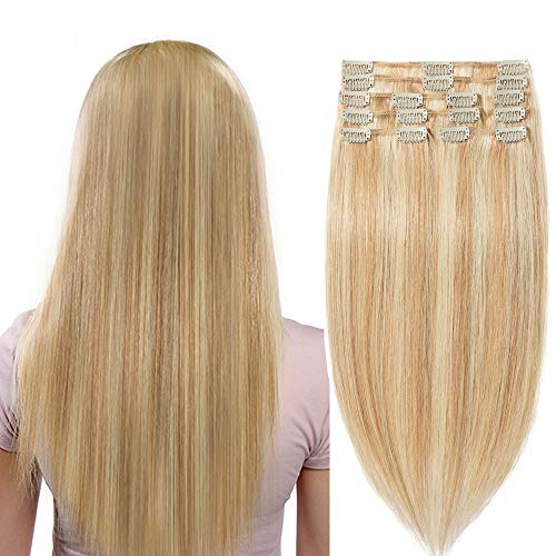 Extension capelli veri clip biondo meches lisci naturali 50cm 20