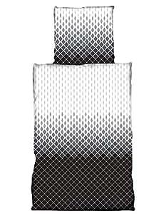 Leonado Vicenti Bettwäsche 135x200 4 teilig Fleece Winter grau anthrazit Weiss Schwarz kariert Streifen kuschel Flausch Doppelpack Sparset