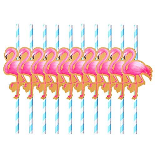 OUNONA-Pajitas-Papel-a-Rayas-Blanco-Azul-Flamenco-Rosa-Decoracin-para-Cctel-Hawaiana-Fiesta-10-Unidades