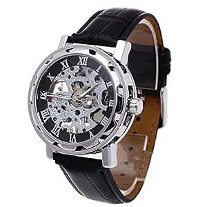FACILLA® Classique Montre Bracelet Montre pour homme mécanique squelette Sport Montre Pu alliage noir