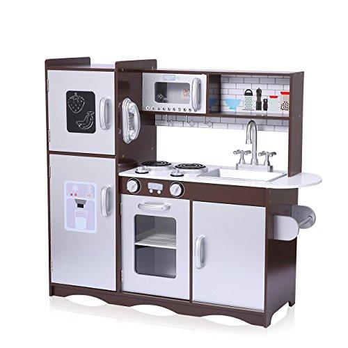 *Baby Vivo Kinderküche Spielküche aus Holz Kinderspielküche Küche Holzküche Spielzeugküche mit Tafel – Toni in Braun*