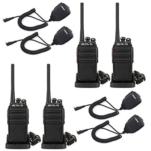 Retevis RT24 Funkgerät PMR446 16 Kanäle mit Lautsprecher Wiederaufladbar Walkie Talkie (2 Paar, Schwarz)