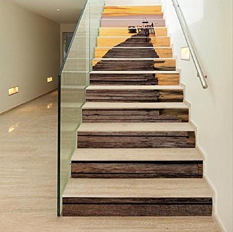 KKLOVEJ Sonnenuntergang Landschaft PVC Selbstklebende Wandaufkleber Schritt Aufkleber Wasserdichte Tapete Treppenrenovierung