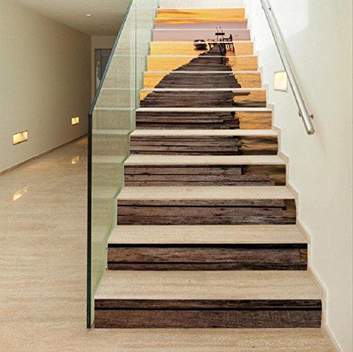 Preisvergleich Produktbild KKLOVEJ Sonnenuntergang Landschaft PVC Selbstklebende Wandaufkleber Schritt Aufkleber Wasserdichte Tapete Treppenrenovierung