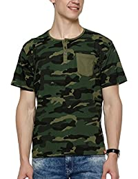 WYO Mens Solid Green Camo Slim Fit Henley T-Shirts