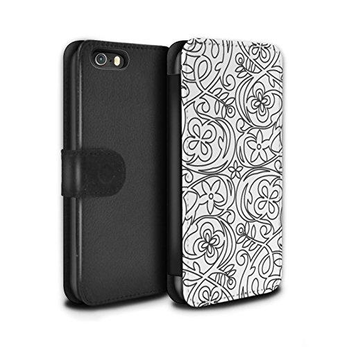 Stuff4 Coque/Etui/Housse Cuir PU Case/Cover pour Apple iPhone SE / Conception Géométrique Design / Mode Noir Collection Croquis Fleurs