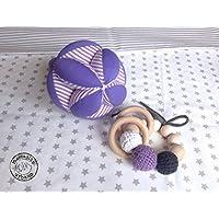 KIT 2 Regalos para bebés, Pelota infantil y sonajero de madera, estilo Montessori, material Montessori, kit Montessori bebé TONOS MORADO