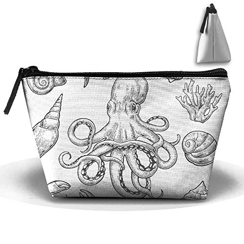 Trapezoidal Toiletry Pouch Makeup Travel Cosmetic Bag Sea Shel Coral Crab Shrimp Octopus Portable Phone Coin Storage