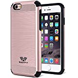 Coque iphone 6s anti- choc, SAVFY Coque iPhone 6 / 6S Double couche Hybrid Ultra-Mince Armure Defender PC + TPU Housse Bumper pour iPhone 6 / 6S 4.7 Pouces, Or Rose