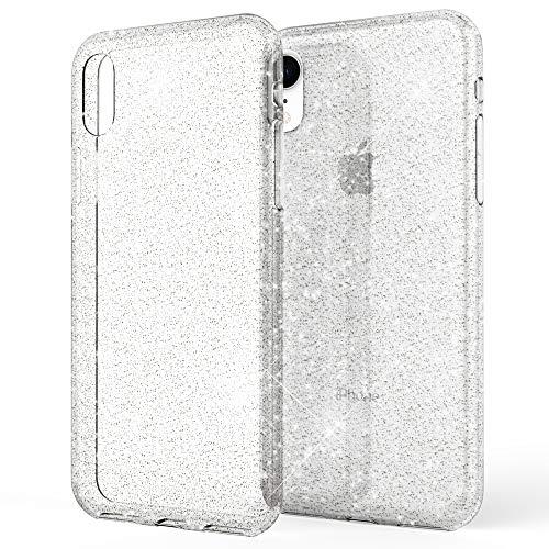 Bling Handy (NALIA Glitter Hülle kompatibel mit iPhone XR, Glitzer Handyhülle Ultra-Slim Silikon Case Cover Schutzhülle, Bling Bling Handy-Tasche Bumper, Dünnes Strass Phone Etui Backcover, Farbe:Transparent)