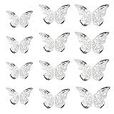 Oblique Unique® 3D Schmetterlinge 12er Set Metall Dekoration inkl. Klebepunkte Wandtattoo Wandsticker Wanddeko in Gold oder Silber - Farbe Wählbar (Silber)