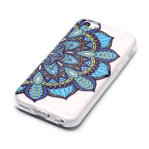 Custodia iphone 5C - Cover iphone 5C - Cozy Hut Case per iphone 5C [Ultra-Thin] Air Skin [Soft Clear] Premium Semi-transparent Super Lightweight, Custodia per iphone 5C - Cranio nero fiore Fiore mezzo mezzo