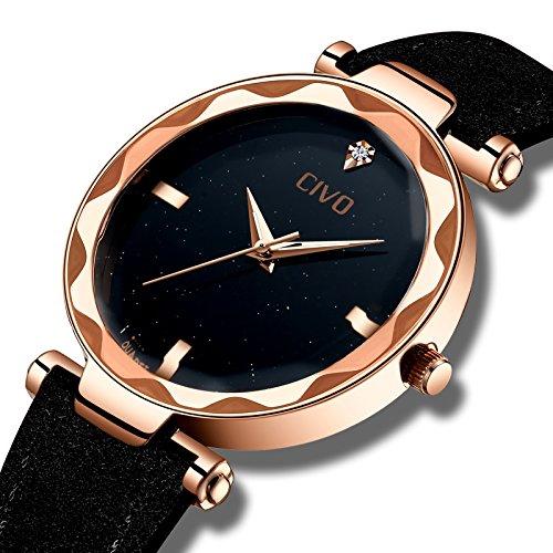 ec7bf6b5c905 CIVO Relojes para Mujer Reloj Damas Señoras Lujo Impermeable Fino Reloj de  Cuero Minimalista Moda Calendario