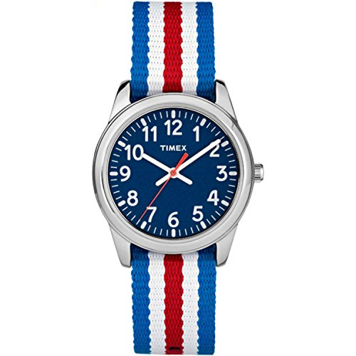Timex Boys TW7C09900 Time Machines Metal Red/White/Blue Stripes Nylon Strap Watch