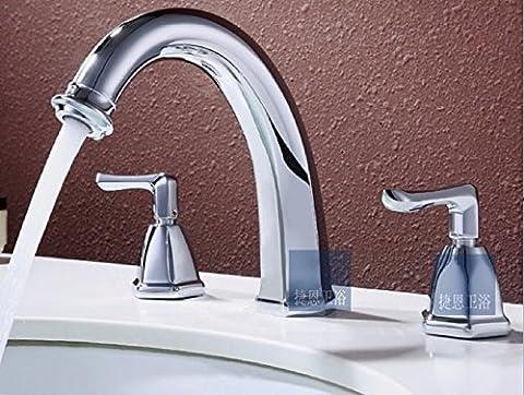 TougMoo évier de vanité de lavabo 3 trous deux bains POIGNÉE ROBINET Répandue Répandue,salle de (2 Maniglia Diffuso Rubinetto Di Lavabo)