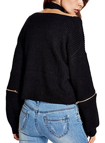 Futurino Femme Hiver/Automne Foulard Col V Manches Longues Oversize Sweater Pull Tricots Jumper Top Lace Up Black