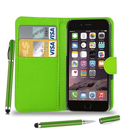 Apple iPhone 7 Plus - Leder Etui Tasche Hülle Cover Buch + 2-in-1 Stylus Pen + Touch Screen Protector & Poliertuch ( Schwarz ) Green