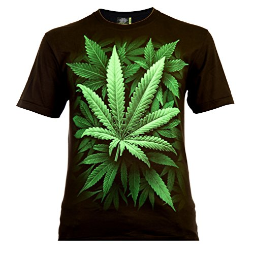 Cannabis Leaf Herren T-Shirt Schwarz Gr. M Glow in The Dark