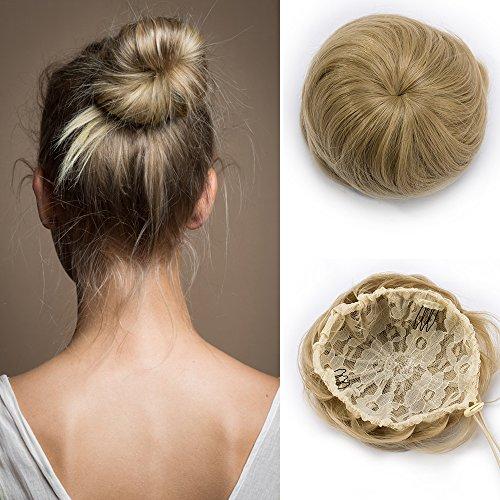 Extension capelli finti lisci chignon con clip e cordicella elastico toupet hair bun coulisse da donna coda di cavallo parrucchino accessori posticci 45g - biondo cenere