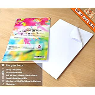 20 Sheets High Quality Waterproof A4 Vinyl (PVC) Glossy White Self Adhesive Sticker Sheets Quality Inkjet Printabe