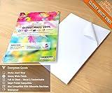 Lot de 20feuilles blanches brillantes - Format A4- Imperméables - En vinyle (PVC) adhésif - Pour imprimante à jet d'encre et laser