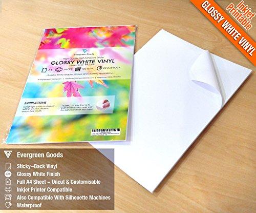 20fogli A4di alta qualità impermeabile in vinile (PVC) qualità bianco lucido adesivo adesivo fogli a getto d' inchiostro Printabe