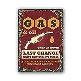 Feeby Blechschild 30x40 cm metallbilder Retro Vintage werbeschild Gas Oil Station rot