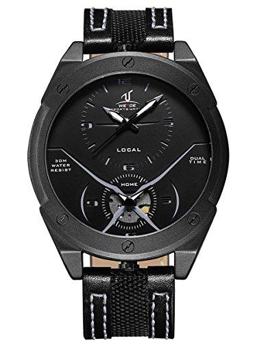 Alienwork Armbanduhr Herren Uhr Leder Armband Lederarmband Lederband schwarz Analog Quarz Herrenuhr Wasserdicht XXL Oversized
