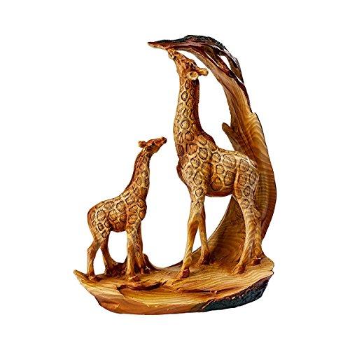 Unbekannt Deko Giraffenfamilie, Deko-Figur Tierfigur Giraffe Mama & Kind, Giraffen & Akazie, detailreiche Holzoptik, Kunststein, 16 x 7 x 19 cm