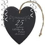 """Schieferherz """"Silberhochzeit"""" - individuelles Herz aus Schiefer mit Namen gravieren - Geschenk für Ehepaare zu 25. Ehejubiläum"""