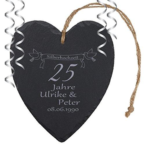 """Schieferherz """"Silberhochzeit"""" – individuelles Herz aus Schiefer mit Namen gravieren – Geschenk für Ehepaare zu 25. Ehejubiläum"""