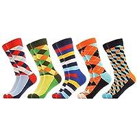 WeciBor Heren Kleurrijk casual patroon sokken Gekamd katoen Grappig noviteit Crew Sokken