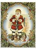 dpr. Fensterbild Nostalgie Weihnachtsmann Nikolaus mit Strumpf einseitig mit Goldglimmer verziert statisch haftend Weihnachten Advent Fenstersticker Fensterdekoration Fensterfolie