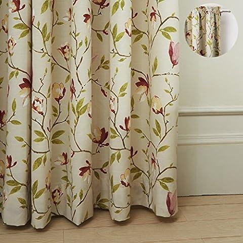 Premium 46W x Recycle Öse Tülle Land Botanical Flower Print Polyester Baumwolle Fenster Gardinen, silberfarben, mit Unterstoff auf Rückseite (1Panel), für Schlafzimmer, Wohnzimmer, Club, Restaurant, Polyester-Mischgewebe, HEADING = Rod Pocket, (1,25 Rod Set)