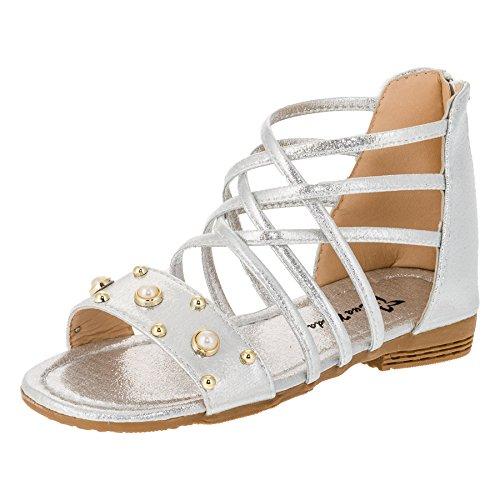 Eua Moda Modische Kinder Mädchen Sandaletten Sandalen in Vielen Farben M388si Silber 32