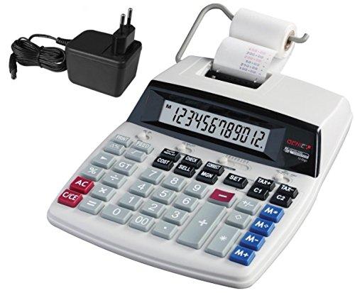 Genie D69 Plus Druckender Tischrechner (Netzteil, 12-stelliger Rechner, rot und schwarz Druck (Tintenroller)) (Druck-rechner Schwarz)