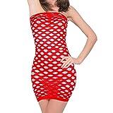 Lingerie erotica per donna 5 stile femminile intimo donna intimo abito erotico porno lingerie sexy a rete mini abito senza maniche Costume rosso
