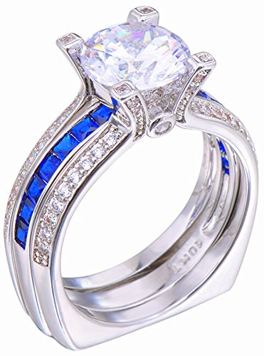 SaySure White Gold Filled Sapphire Anniversary Wedding & Engagement Ring Set