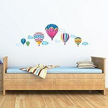 Decowall DW-1301AC 6 Globos Aerostáticos en el Cielo Vinilo Pegatinas Decorativas Adhesiva Pared Dormitorio Salón Guardería Habitación Infantiles Niños Bebés