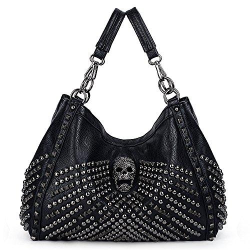 UTO Damen Schädel Tote Bag Große Kapazität Rivet Studded Handtasche Glatte PU Leder Geldbörse Schultertasche 467