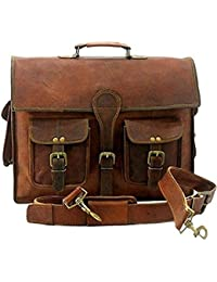 Vintage Handmade Genuine Brown Leather Laptop And Messenger Bag And Office Bag For Znt Bags - B0795SYFC8