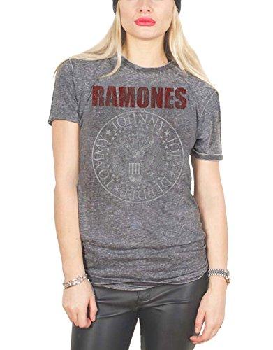 Ramones T Shirt Presidential Seal Oficial De las mujeres nuevo Gris Skinny Fit