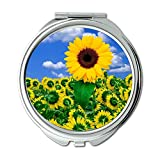Yanteng Machte Desktop Sonnenblume Natur Brieftasche Spiegel, Schminkspiegel, Taschenspiegel...