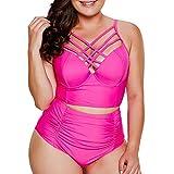 iYmitz Damen Plus Size Solide Bikini Set Schale Slim Brasilianische Frauen Badebekleidung Beachwear Badeanzug(Hot Pink,EU-42/CN-3XL)