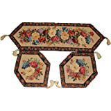 Tache 3 Piece Floral Tapestry Morning Awakenings Woven Table Runner Placemat Set by Tache Home Fashion
