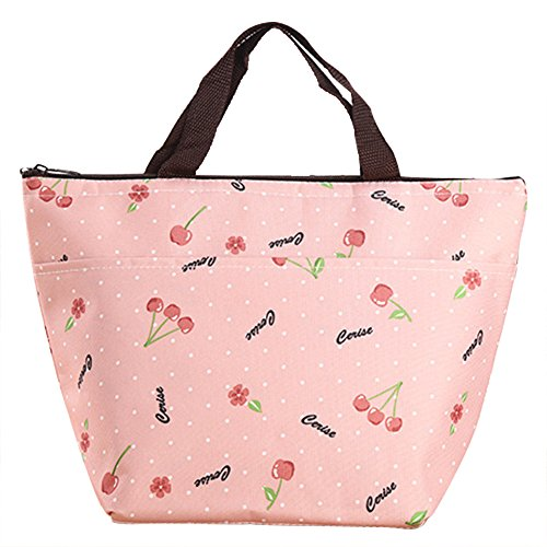 Tasche Cartoon (Wicemoon Isolierkit Tasche Lunch-Tasche Oxford Tuch Multicolor Cartoon Muster Handtasche,Rosa Kirsche)