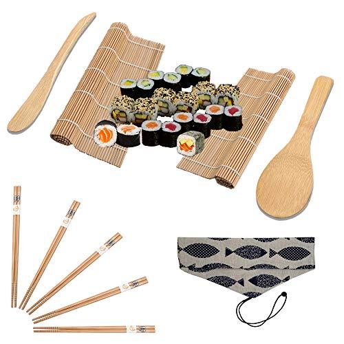 Sushi Set zum Selber Machen für Anfänger, Tasche in Zwei Farben, 10 Teile Sushi Maker Kit (2 Bambus-Matte -Rollmatte- 5 Stäbchen 2 Reis Löffel 1 Tasche) Japan Sushi jetzt Selber Rollen